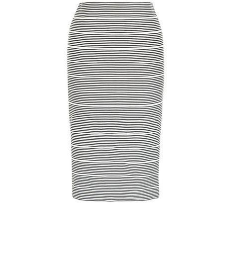 Black Stripe Bandage Pencil Skirt  | New Look