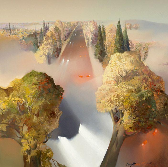 Осенняя дорога. Туман