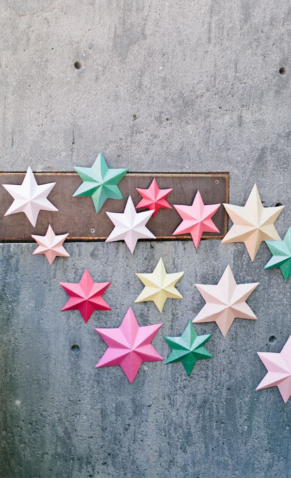 Let these folded 3D paper stars brighten up your next gathering! #DIY #stars. For more DIY ideas go to www.canberracreatives.com.au