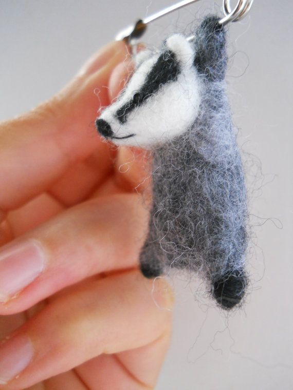 SALE Miniature swinging hang in there badger! safety pin brooch badge. Needle felted animal character