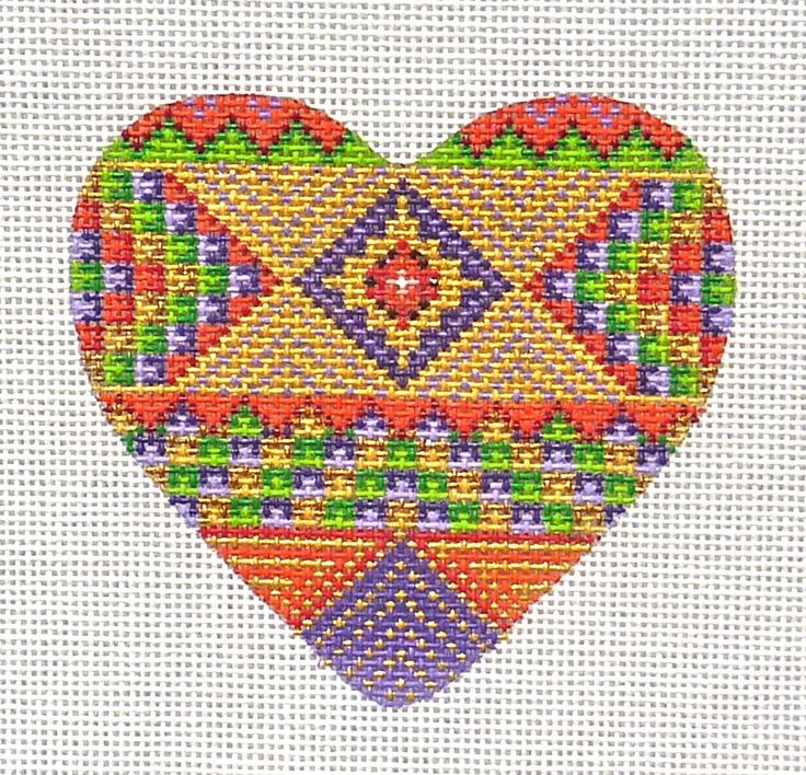 A Collection of Designs Patchwork Heart Handpainted Needlepoint Canvas | eBay