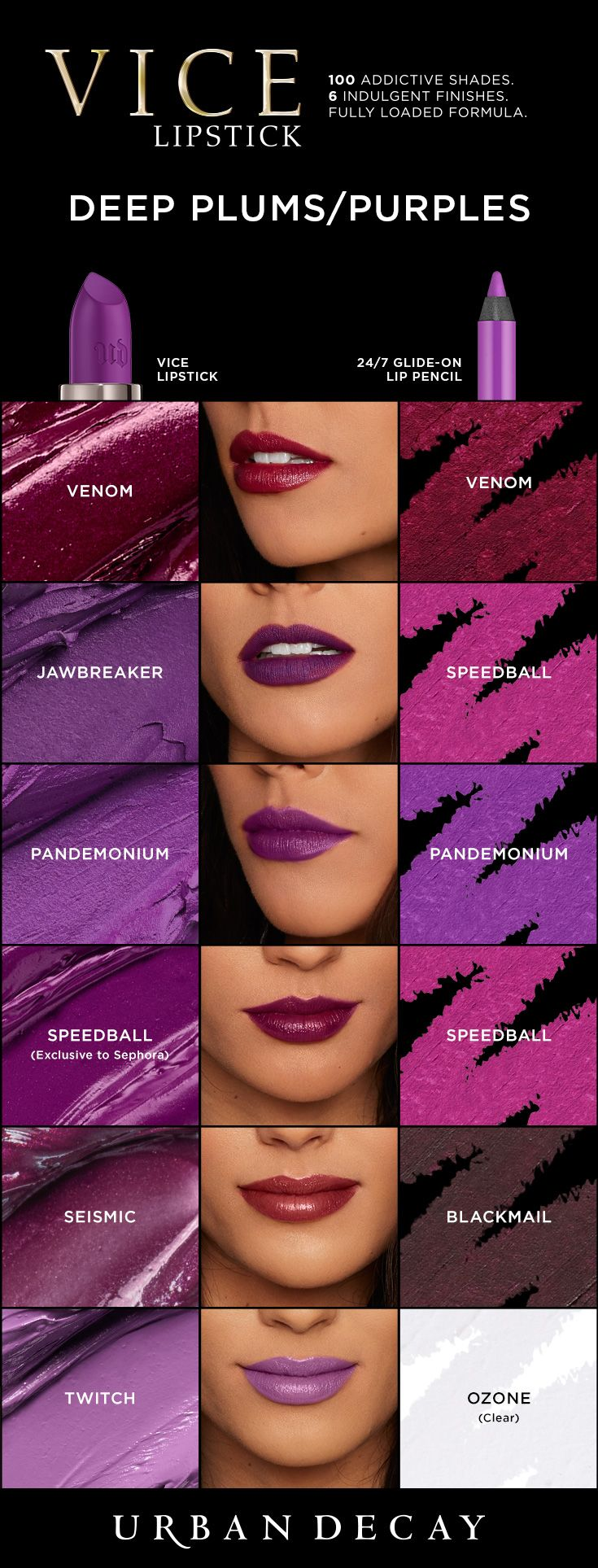 Are you all about purple? Then you'll be hooked on these must-have shades of Vice Lipstick. From cream to mega matte, we've got the shade and the finish you've dying to get your hands on. Pick 'em up now at urbandecay.com. #LipstickIsMyVice