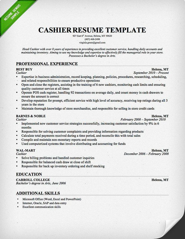 44 best Resume tips ideas images on Pinterest Resume tips - cashier resume template
