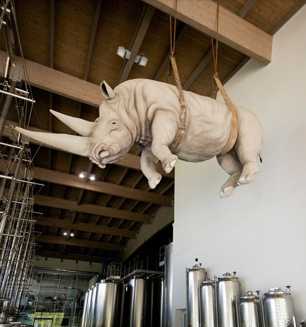 Thought you knew all about Italian wine? Tusk, tusk... 'The Weight of Hanging Time' by artist Stefano Bombardieri, at the Ca' del Bosco winery, near Bergamo, Italy. Sbronzi tour 2012