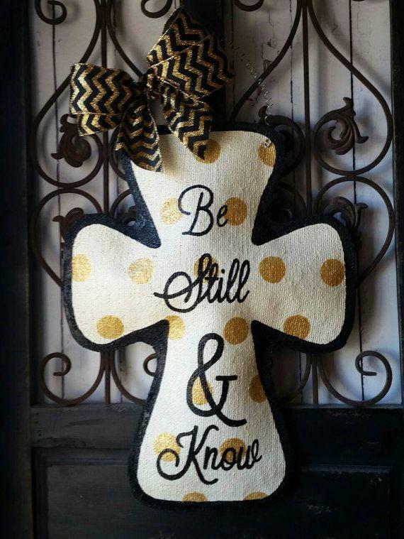 Cross Burlap Door Hanger Decoration by ConnieRisleyCrafts on Etsy