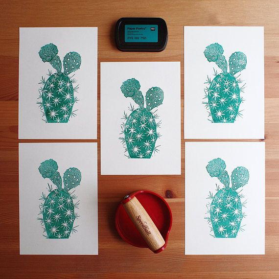 Green Green Cacti  Original Handprint