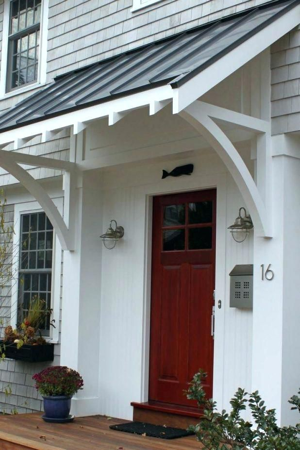 Metal Roof Awning Front Door Awning Ideas Pretty Simple But Its The Metal Roof That Gives It Appeal Porch House Exterior Front Door Overhang Front Door Awning