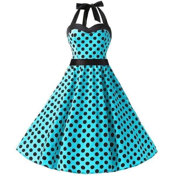 Dresstells® Halter 50s Rockabilly Polka Dots Audrey Dress Retro... ($21) ❤ liked on Polyvore featuring dresses, rockabilly dress, blue cocktail dress, halter dress, halter-neck dress and retro cocktail dresses