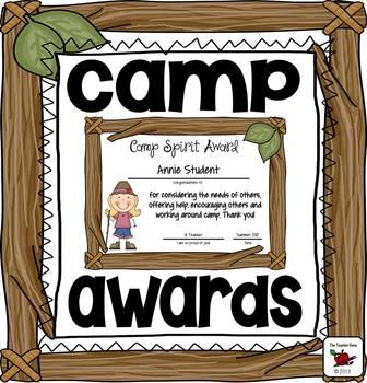 Awards {Camp Awards}: Awards designed to celebrate End of Summer Camp. Also great for End of Year Awards based around a camp theme! 45 colorful awards. One award is included in the preview free.The name fields in these unique awards are editable/customizable!