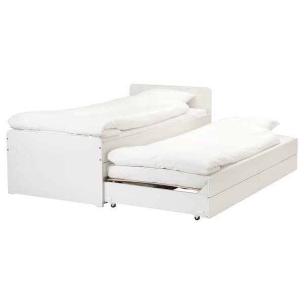 Slakt Bettgestell Unterbett Aufbewahrung Weiss Ikea Deutschland Bettgestell Ausziehbett Bett Lagerung