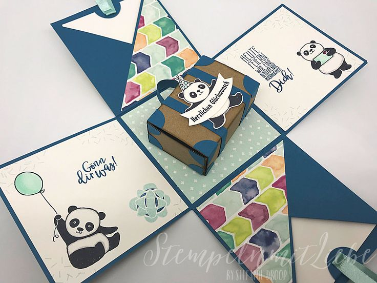 Stampin Up - Explosionsbox - Koffer - Geburtstag - Box - Verpackung - Jeansblau - Kraftpapier - 18. Geburtstag - Stempelset Party-Pandas - Pandas♥ StempelnmitLiebe