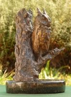 The African Scops Owl is one of Africa's smallest owls, this widely distributed, notoriously mysterious creature has a voice which is synonymous with quiet African Savanna evenings. By day it camouflages itself in trees with bark resembling its plumage, sitting upright and elongated close against the stump. With 'ear tufts' protruding it will often resemble a dead branch.
