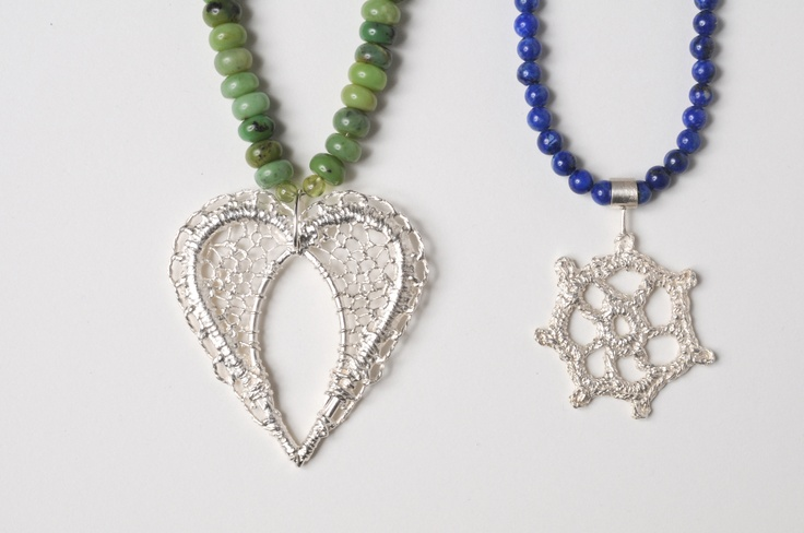 Lacy Heart and Catherine Wheel necklace. Silver and semi precious stones. By Ebba Goring