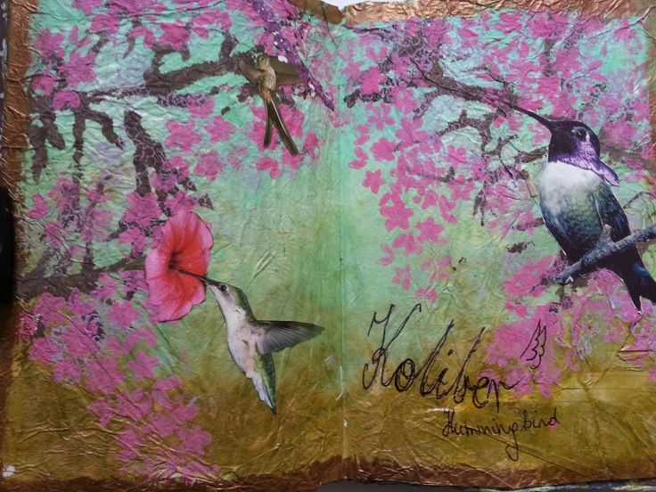 Birds art journal page