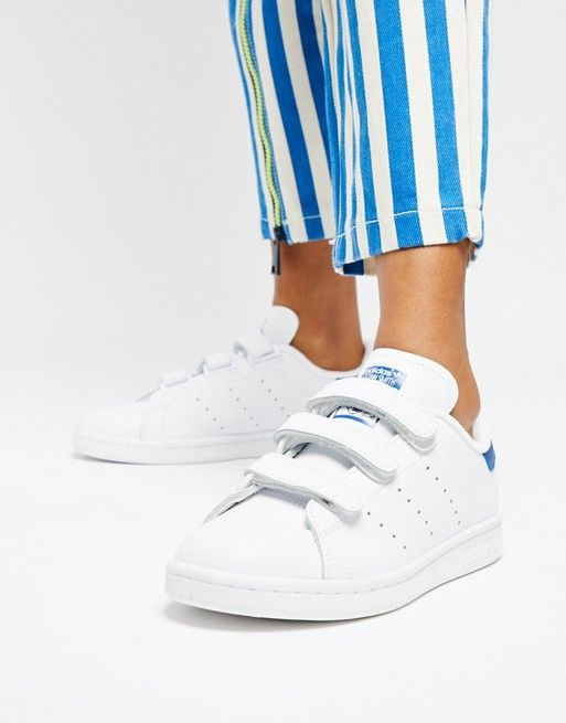 online store 49247 a1557 adidas Originals Stan Smith Velcro Sneakers In White And ...