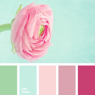 mint and pink palettes with color ideas for decoration your house, wedding, hair or even nails.