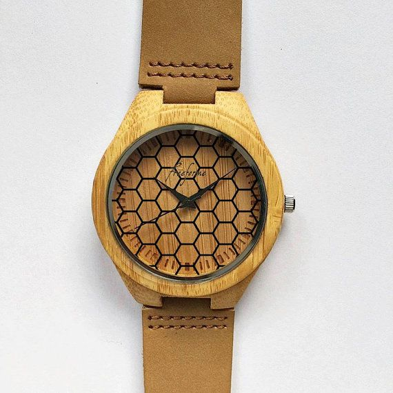 Wooden Watch. Wood Watches Honeycomb Honey Bee Mens by FreeForme
