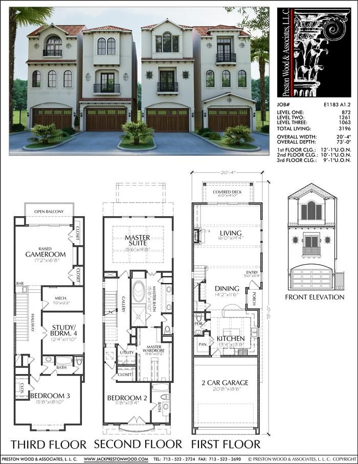Three Story Townhouse Plan E1183 A1 2 Town House Plans Town House Floor Plan Narrow House Plans