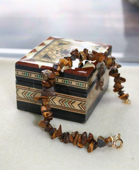 Women's tiger eye brown stone chip bracelet