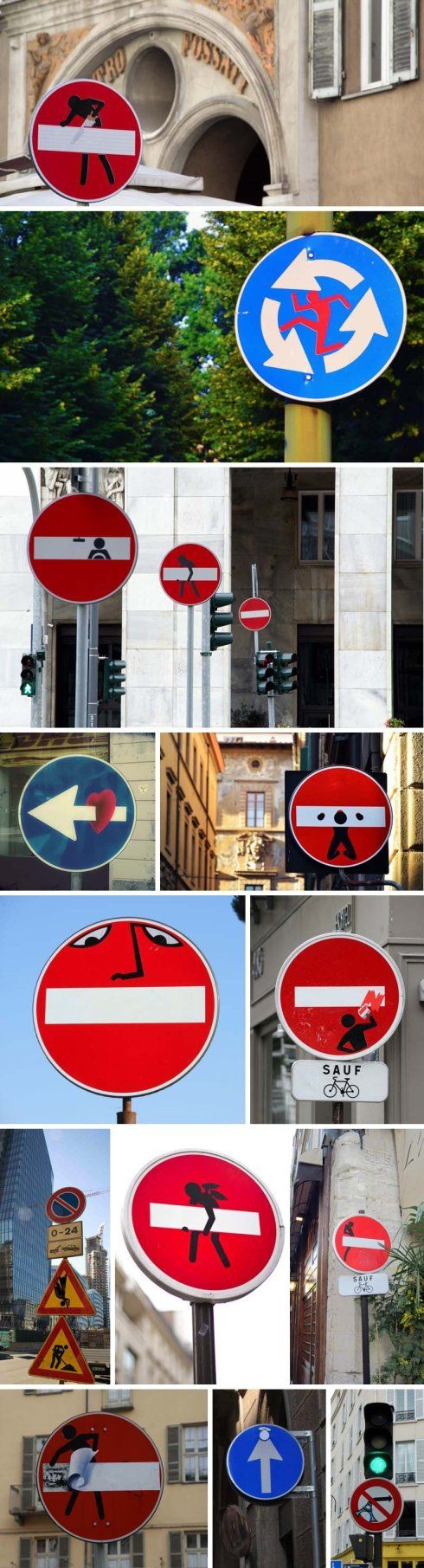 French street artist Clet Abraham, now living and working in Florence, humorously alters traffic signs throughout major cities in Europe by strategically pasting removable stickers on them.
