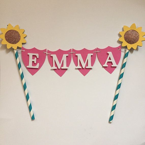 Sunflower/ Frozen fever inspired cake bunting by Fancymycupcake