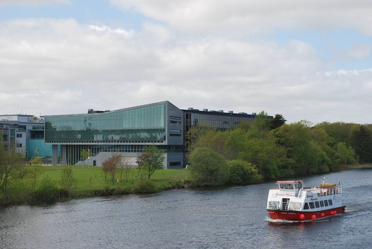 "Engineering Building, NUI Galway; ""Corrib Princess"" on the River Corrib"