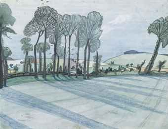 JOHN NASH, R.A. (1893-1977) Spring Landscape. He served in The Artists Rifles during WWI.