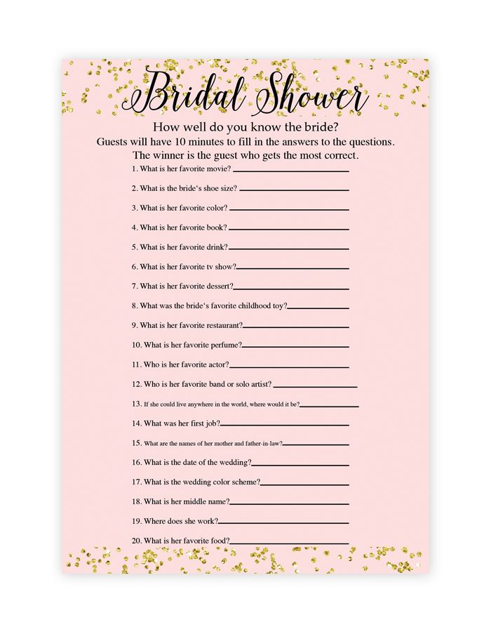 Make your own bridal shower games with our free printable bridal shower game templates!Download by following the directions below.