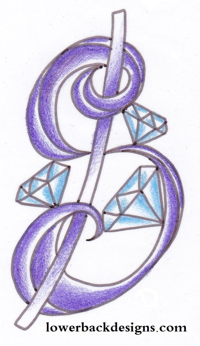 Money+Sign+Tattoo+Designs | Small diamond tattoo. Money sign with jewels. Diamond with money signs ...