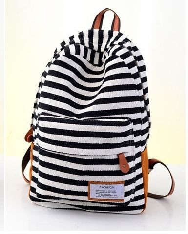 4 Color 2015 Fashion Stripe Canvas Women School Bagpack High Quality Middle School Bags Lady Mochila Casual Women Backpack A882