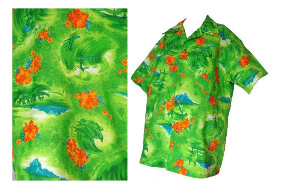 Mens 60s Shirt Hawaiian Surf Shirt Lime Green Print Dophins Surfers L $42.00 by susiesboutiquecloths