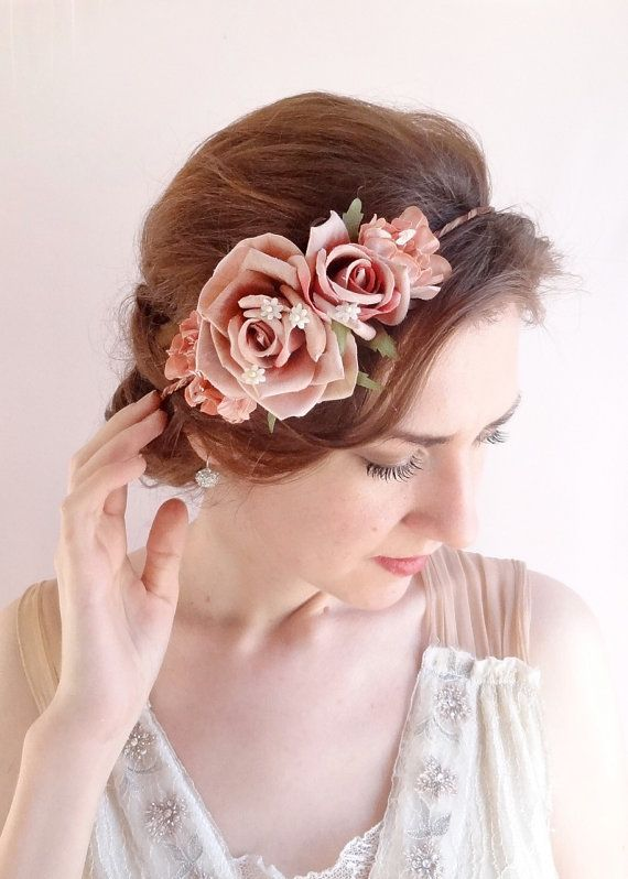vintage style floral crown dusty pink flower crown by thehoneycomb