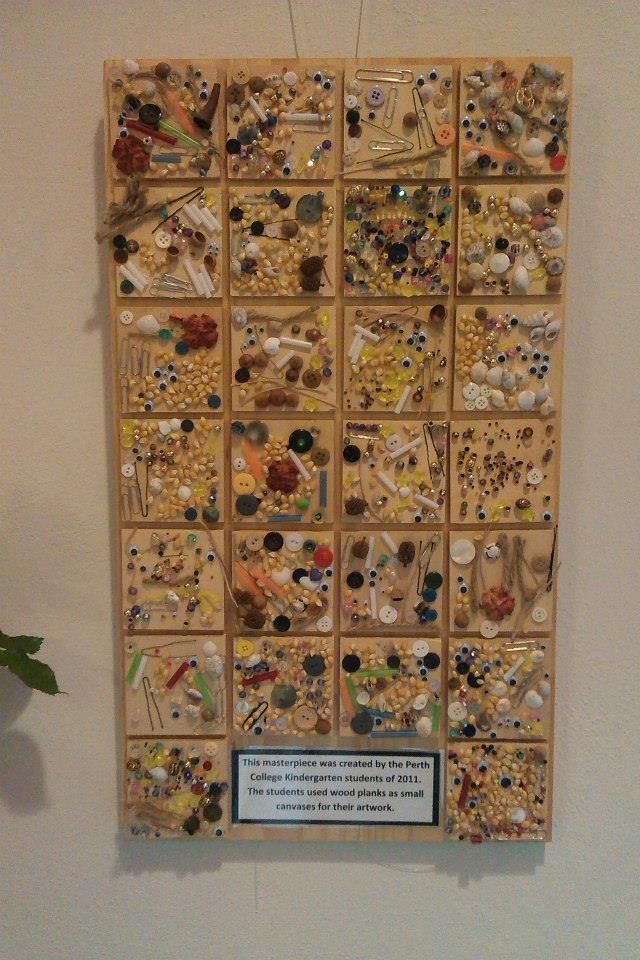 """This masterpiece was created by the  Perth College Kindergarten student of 2011. The students used wood planks as small canvases for their artwork - Natural Inspired Environments ≈≈"