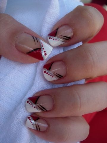 red nail w/ white, black & silver design