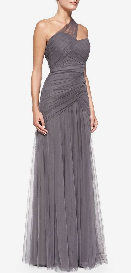 I'm thinking in red or the prettiest blue would be stunning. Monique Lhuillier Bridesmaids One-Shoulder Draped Tulle Gown, Slate