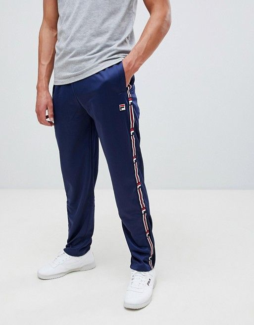 17c80a45 Fila White Line Sweatpants With Taping In Navy in 2019 | asos men ...