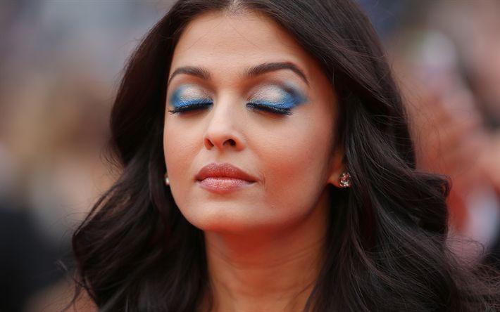 Download imagens Aishwarya Rai, 4K, Bollywood, retrato, A atriz indiana, modelo de moda, morena, vestido azul, bela mulher Indiana, Aishwarya Rai Bachchan