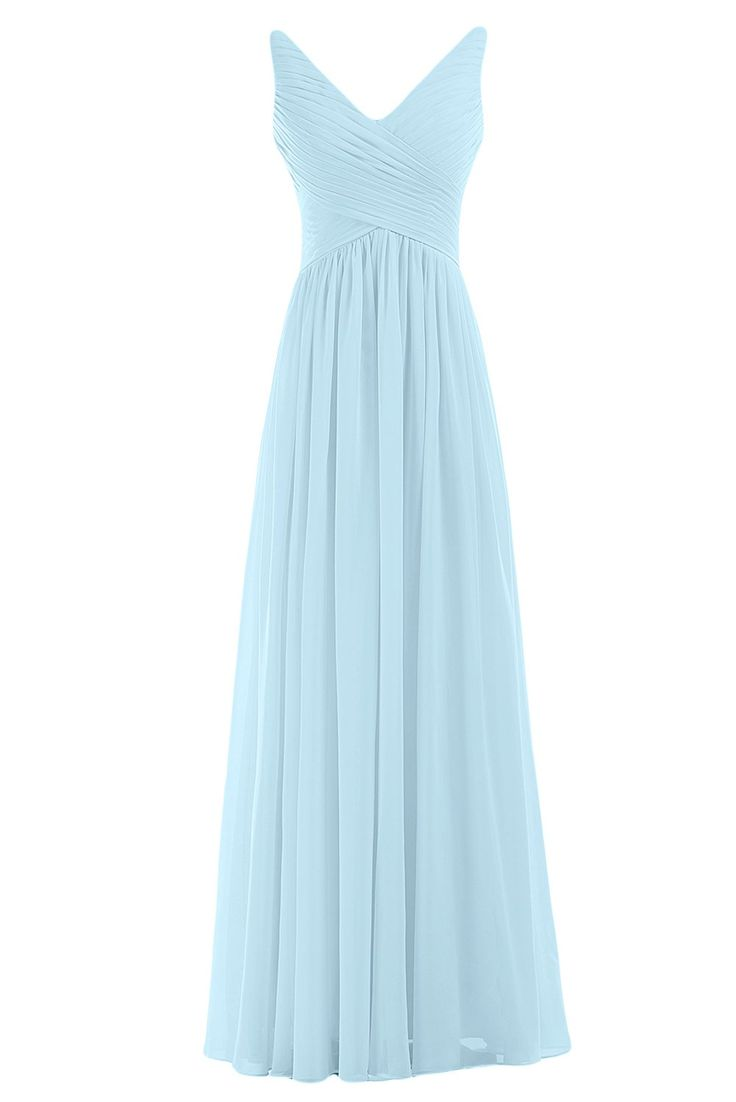 Sunvary Woman A-line Chiffon Bridesmaid Dresses Wedding Guest Gowns Mother of the Bride Dress Prom Gown Long US Size 2- Light Sky Blue