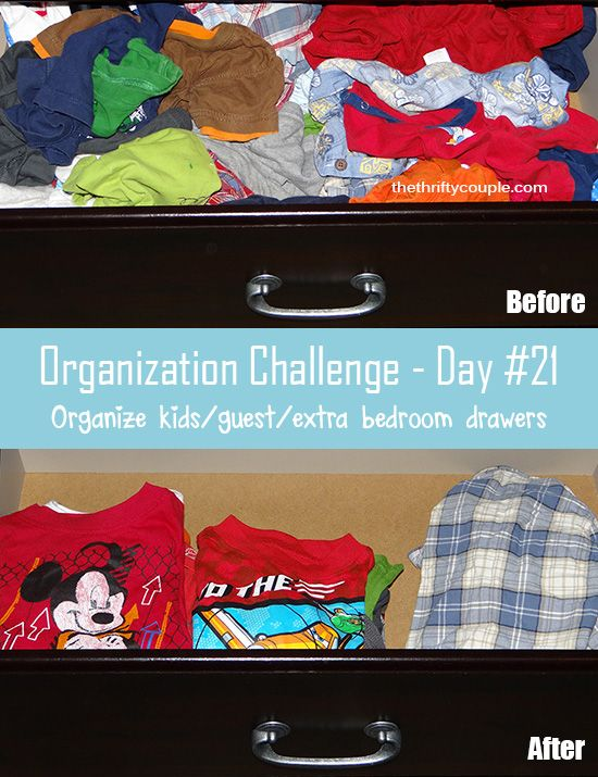 30-day organization challenge #21- kids' drawers or the drawers in guest or extra rooms | Tips to make the most of a small space | Organize your home | Clever tricks and easy DIY ideas for storage on a budget