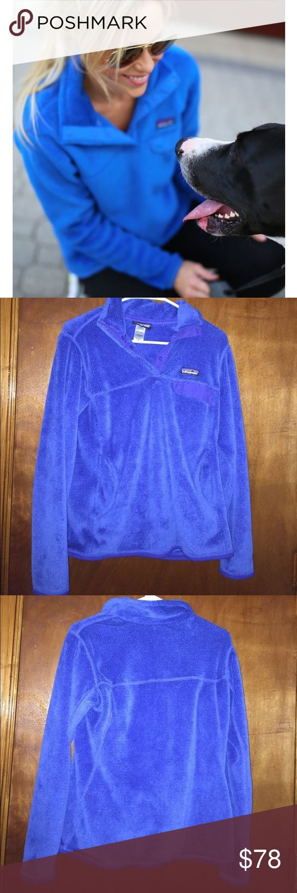 Patagonia Royal Blue T Snap Re-Tool Pullover Royal blue t Snap re-tool Pullover. RePosh because the size is just too big on me. I'm typically a Small in Patagonia but am obsessed with the color and how soft it is! EUC no stains, pilling or snags anywhere. Almost like new! Patagonia Sweaters