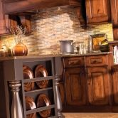 "Designer Cabinetry, ""Bella"" door style, Rustic Cherry, Heavy Patina ""A"" finish in a Rustic Kitchen Design, Mountain Resort Colelction"