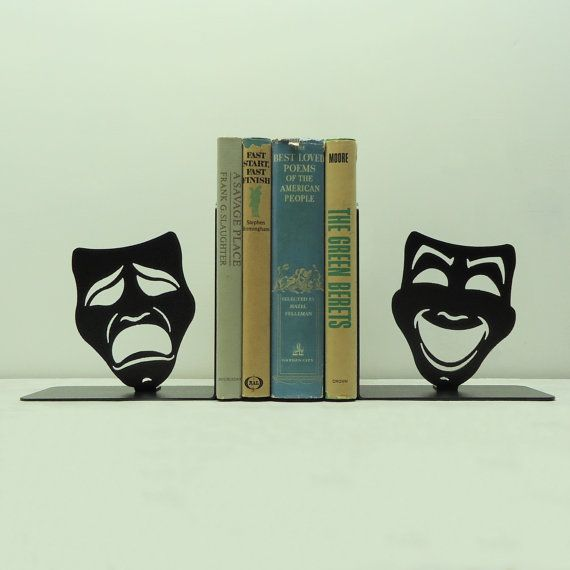 Comedy Tragedy Mask Metal Art Bookends  Free by KnobCreekMetalArts, $64.99