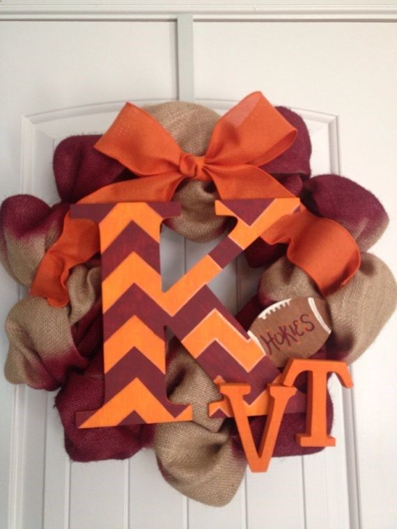 Custom Team Burlap Wreath Virginia Tech Wreath by LilyandTuck, $55.00