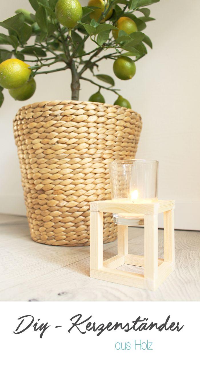 Dani von Gingered Things zeigt dir wie du aus einfachen Holzleisten diesen kleinen Würfelkerzenständer machen kannst.