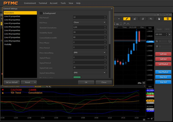 Now you can download Traders Dynamic Index (TDI). It's a composition of Relative Strength Index, Bollinger Bands and Moving Averages. Their combination could be a great approach to spot and follow the market.  Just try it for free! #ptmc #indicator #trading