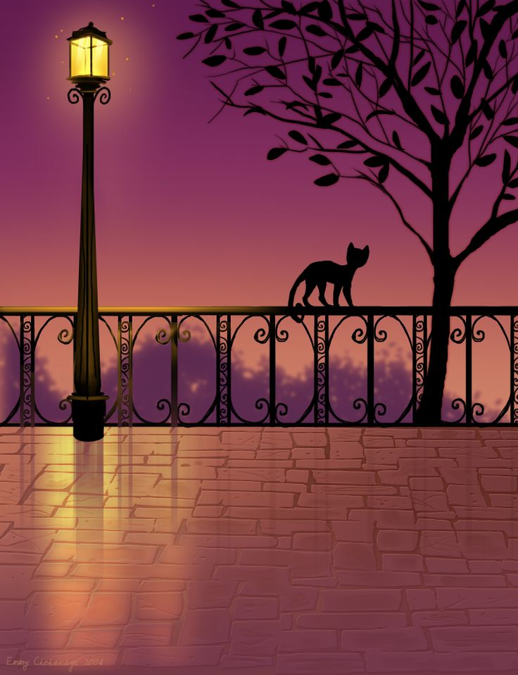 Purple Lamp post by B1nd1: Cat Art, Art Vintage, Catmania Illustrations, Night Cat, Kitty Art, Things Purple, Art En, Black Cat, Purple Lamps