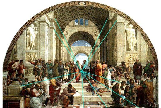 In dit schilderij zie je de vluchtlijnen naar het midden van het schilderij met blauwe strepen aangegeven.