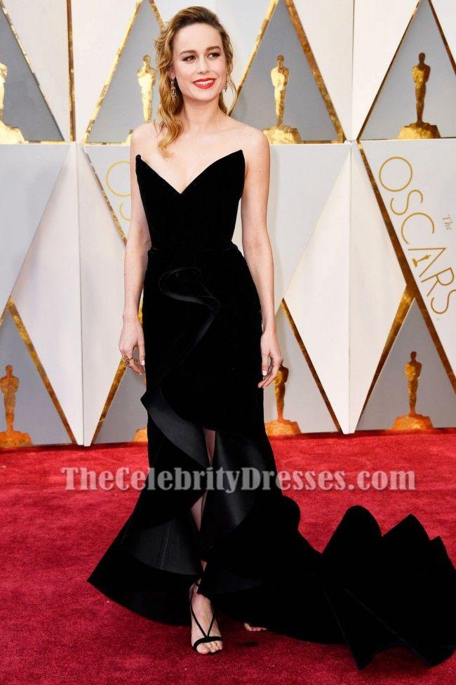 Brie Larson Oscars 2017 Red Carpet Black Formal Gown Celebrity Dresses - TheCelebrityDresses