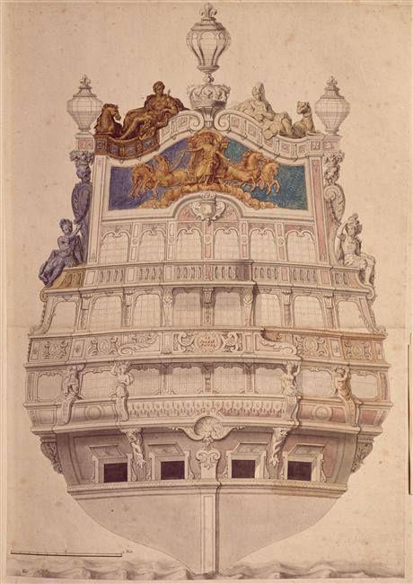 """Jean Bérain (1640-1711) – Vaisseau """"Le Soleil Royal"""" – Paris, Musée du Louvre"""