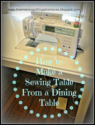 """How to """"sink"""" your sewing machine and turn a dining room table into a diy sewing cabinet/desk type piece of furniture"""